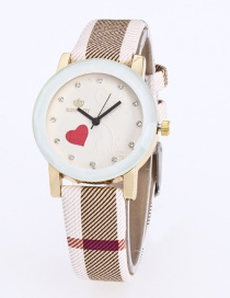 Fashion Khaki Grid Pattern Decorated Pure Color Watch