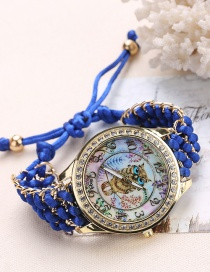 Fashion Blue Owl Pattern Decorated Pure Color Watch