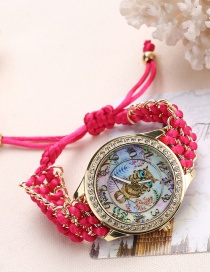 Fashion Plum Red Owl Pattern Decorated Pure Color Watch