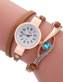 Fashion Brown Diamond Decorated Round Dail Shape Simple Watch
