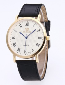 Fashion White+black Digital Pattern Decorated Round Dail Simple Watch