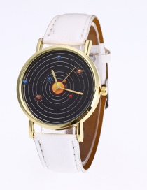 Fashion White Planet Pattern Decorated Pure Color Watch