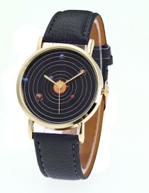 Fashion Black Planet Pattern Decorated Pure Color Watch