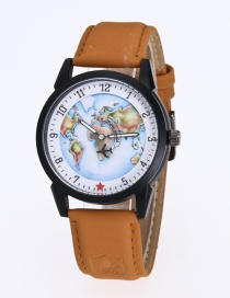 Fashion Yellow Map&plane Pattern Decorated Simple Watch