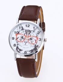 Fashion Brown Cat Pattern Decorated Round Dail Pure Color Watch