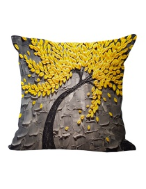 Fashion Gray+yellow Tree Pattern Decorated Simple Pillowcase