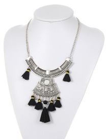 Fashion Black Tassel&ball Decorated Simple Necklace