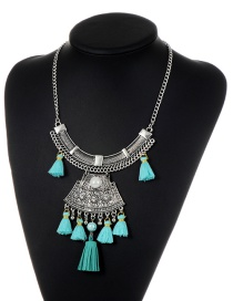 Fashion Lake Blue Tassel&ball Decorated Simple Necklace