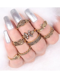 Fashion Gold Color Flower Shape Decorated Simple Ring (8 Pcs)
