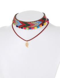 Fashion Multi-color Leaf Decorated Double Layer Pom Choker