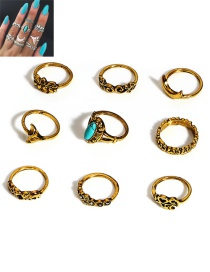Fashion Gold Color Flower Shape Decorated Simple Ring (9 Pcs)