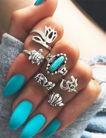 Fashion Silver Color Elephant&flower Shape Decorated Simple Ring (6 Pcs)