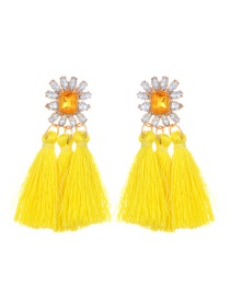 Fashion Yellow Tassel Pendant Decorated Pure Color Earrings