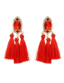 Fashion Red Tassel Pendant Decorated Pure Color Earrings