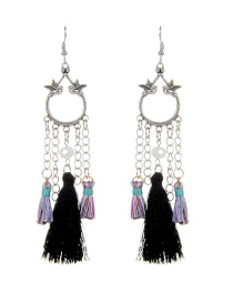 Fashion Black Bird&tassel Decorated Simple Earrings