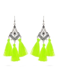 Fashion Light Green Long Tassel Decorated Hollow Out Earrings
