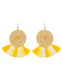Fashion Yellow Tassel Decorated Round Shape Simple Earrings