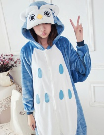 Fashion Dark Blue Owl Shape Decorated Simple Nightgown
