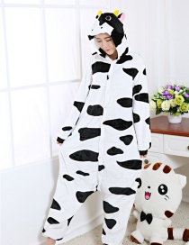 Fashion White Dairy Cattle Shape Decorated Nightgown