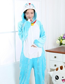 Fashion Blue Doraemon Shape Decorated Nightgown