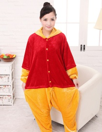 Fashion Red+yellow Winnie The Pooh Decorated Simple Nightgown