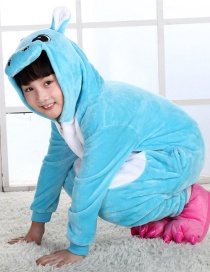 Fashion Blue Hippo Shape Decorated Simple Nightgown