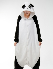 Fashion White+black Kung Fu Panda Shape Decorated Simple Nightgown