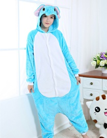 Fashion Blue+white Elephant Shape Decorated Simple Nightgown