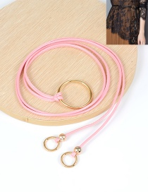 Fashion Pink Circular Ring Decorated Double Layer Waistband