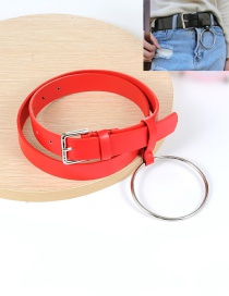 Fashion Red Big Circular Ring Decorated Pure Color Waistband