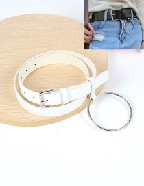 Fashion White Big Circular Ring Decorated Pure Color Waistband
