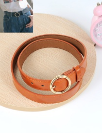 Fashion Light Brown Circular Ring Decorated Pure Color Waistband
