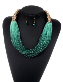 Fashion Green Tassel Decorated Pure Color Jewelry Sets