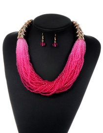 Fashion Plum Red Tassel Decorated Pure Color Jewelry Sets
