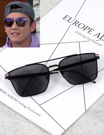 Fashion Black Pure Color Decorated Square Shape Frame Glasses