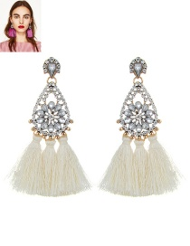 Fashion Beige Tassel&flower Decorated Simple Earrings