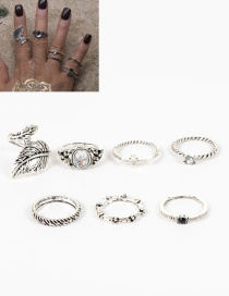 Fashion Silver Color Leaf&diamond Decorated Ring Sets(7pcs)