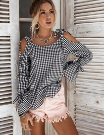 Elegant Black Bowknot&grid Decorated Long Sleeves Shirt