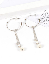 Fashion Silver Color Circular Ring&tassel Decorated Simple Earrings