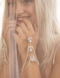 Fashion Gold Color Diamond Decorated Simple Bracelet