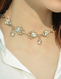 Fashion Gold Color Water Drop Shape Decorated Simple Necklace