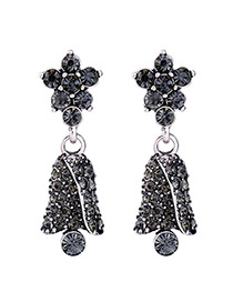 Fashion Gray Diamond Decorated Simple Earrings
