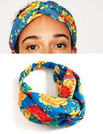 Fashion Red+yellow Flower Pattern Decorated Simple Headband