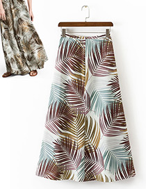 Fashion Multi-color Leaf Pattern Decorated Simple Skirt