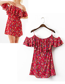 Fashion Red Flower Pattern Decorated Simple Dress