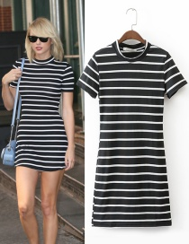 Fashion Black Stripe Decorated Simple Dress