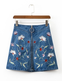 Fashion Blue Flower Pattern Decorated Simple Skirt