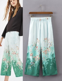 Fashion Multi-color Flower Pattern Decorated Simple Trousers