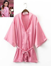 Fashion Pink Pure Color Decorated Simple Shirt
