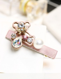 Lovely Pink Cartoon Bear&diamond Decorated Hairpin